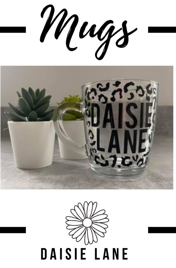 Personalised Glass Mug – Leopard Print