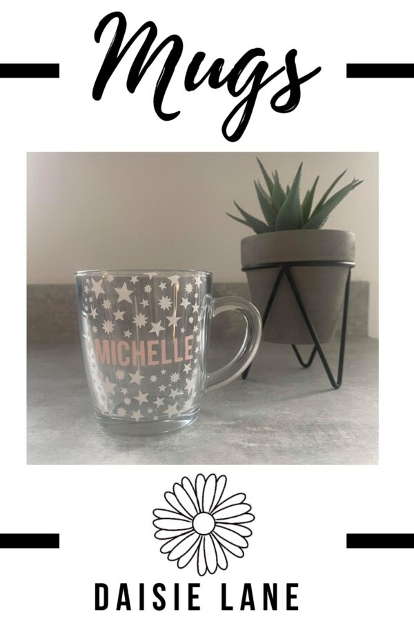 Personalised Glass Mug – Stars